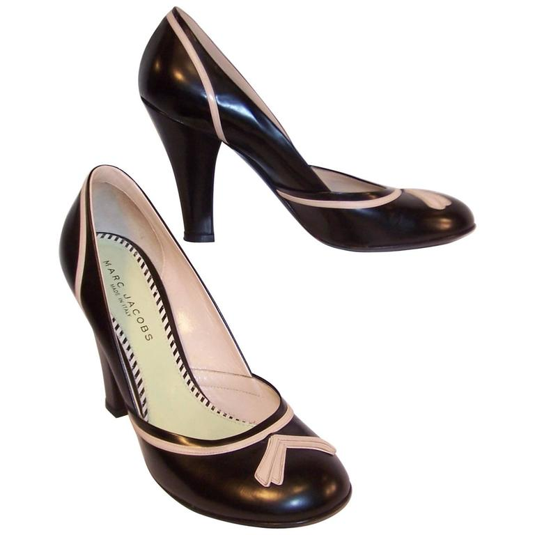 Pin Up Girl Style Marc Jacobs Two Tone Leather Pumps Sz 38