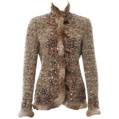 Iconic Oscar de la Renta Campaign Runway Studded Fur Boucle Wool Jacket size 6