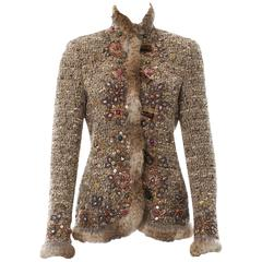 Iconic Oscar de la Renta Campaign Runway Beaded Fur Boucle Wool Jacket size 6