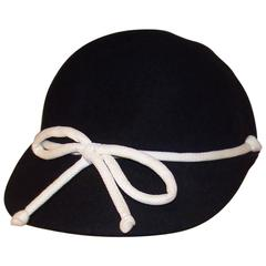 C.1960 Henry Pollak Black Wool & White Pique Cap Style Hat