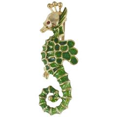 Kenneth Jay Lane Sea Horse Brooch, 1960s