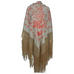 1920s Canton silk embroidered shawl in coral and cream