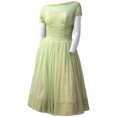 50s Pale Green Chiffon Party Dress