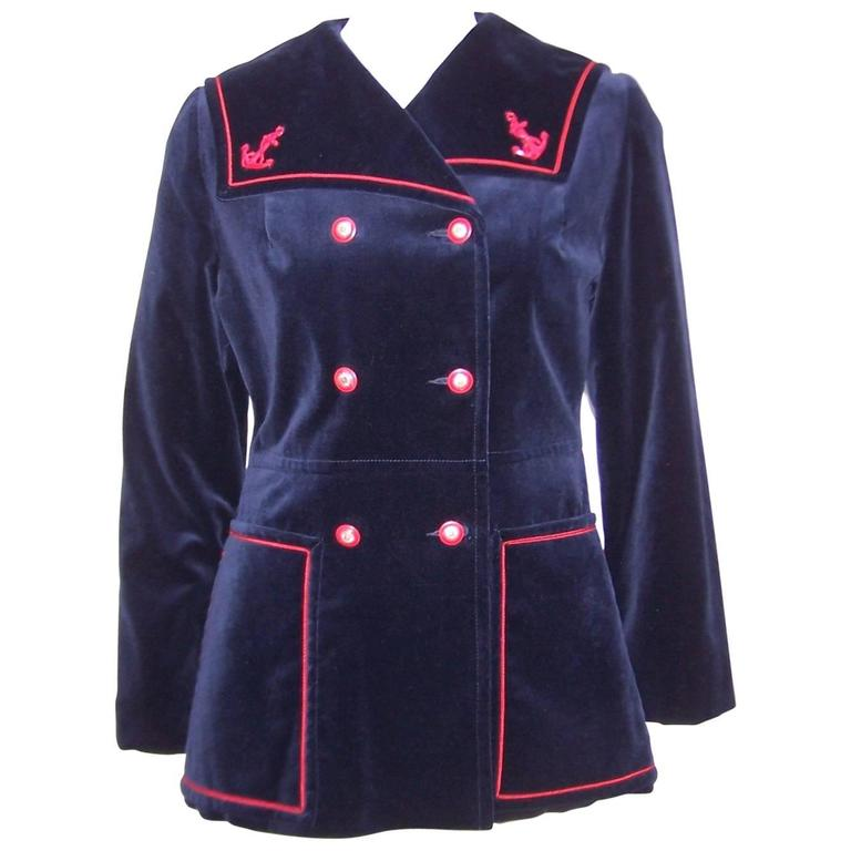1960's Blue Velveteen Sailor Jacket With Red Trim