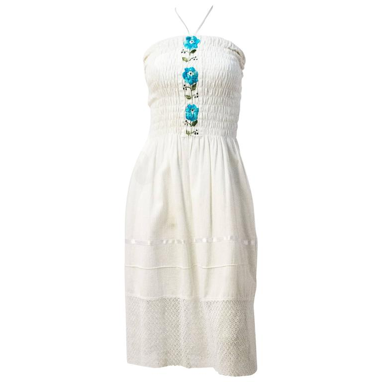 60s Mexican Cotton Gauze Halter Dress with Embroidery