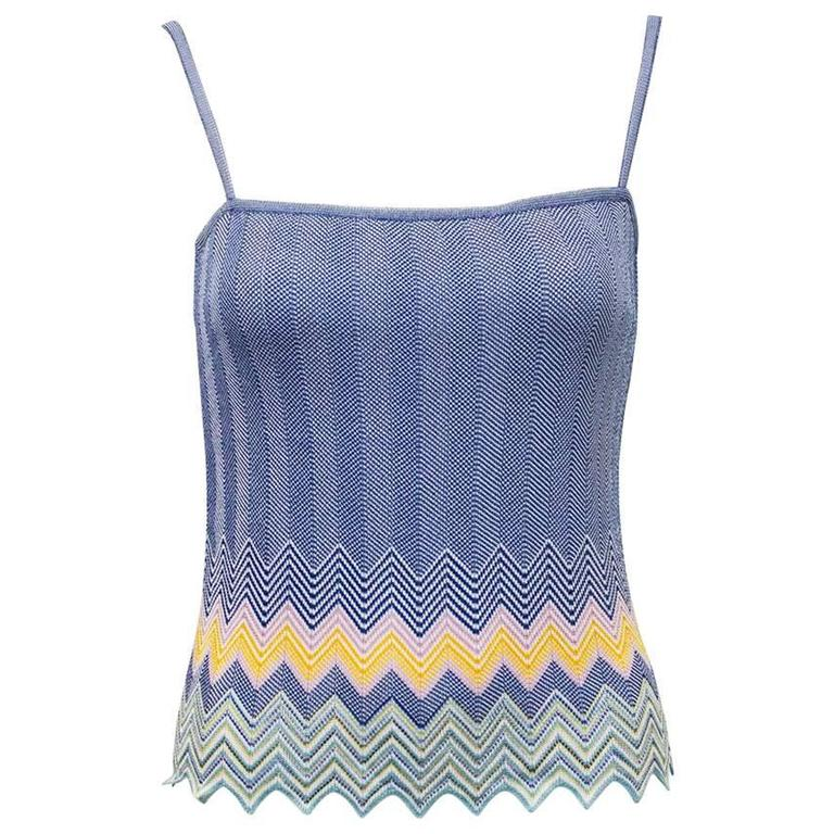2000's Missoni Blue Knit Tank with Chevron Detailing
