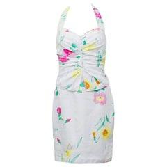 1980's Ungaro White Floral Halter Dress