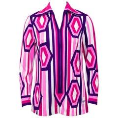 1960's Vera Super Mod Pink, Purple and White Graphic Tunic