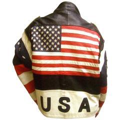 Men's Leather Patriotic American Flag Motorcycle Jacket ca 1980s