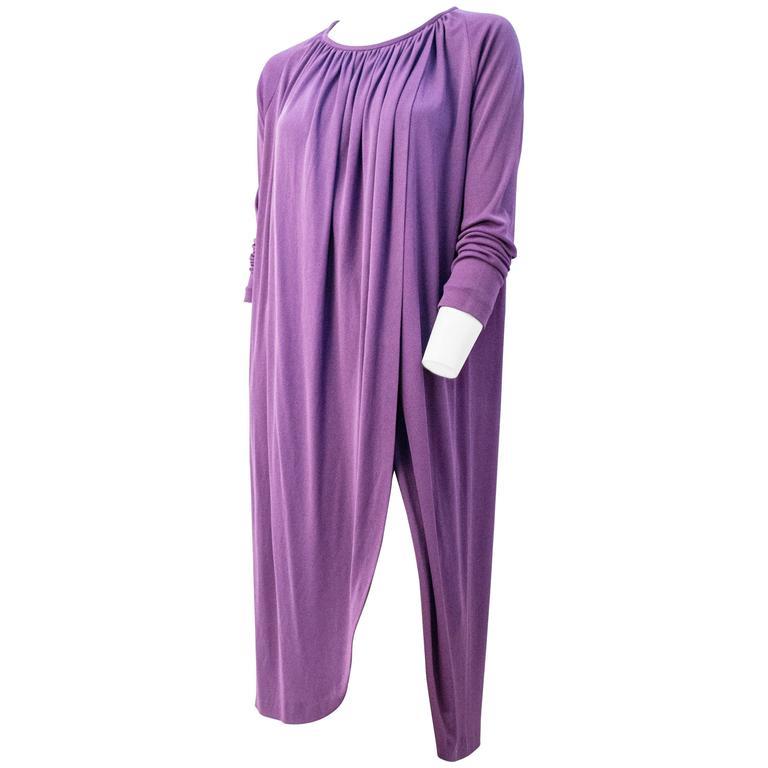 70s Diane Von Furstenberg Long Sleeve Purple Dress For Sale