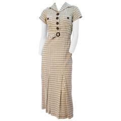 40s Plaid Cotton Day Dress with Matching Belt
