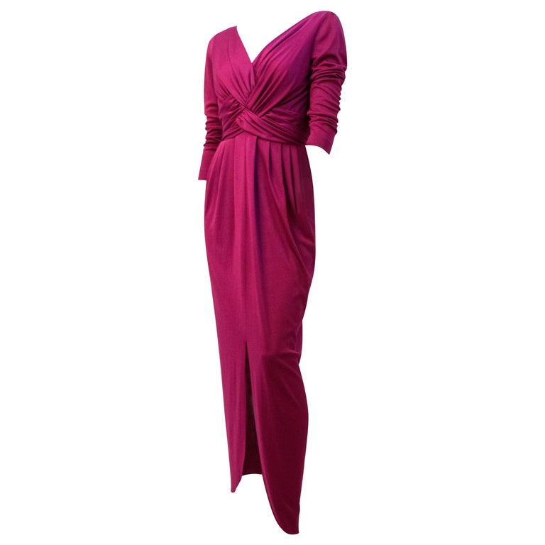 70s Magenta Jersey Dress For Sale