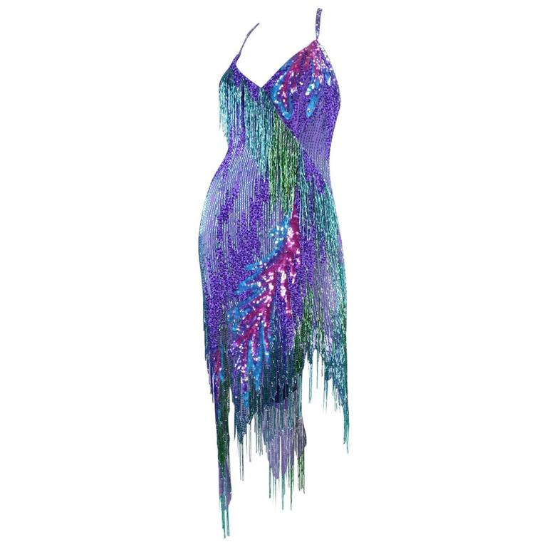 Bob Mackie 1980's Beaded Cocktail Dress For Sale