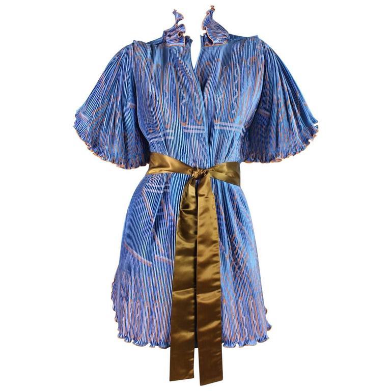 Zandra Rhodes Pleated & Silkscreened Jacket For Sale