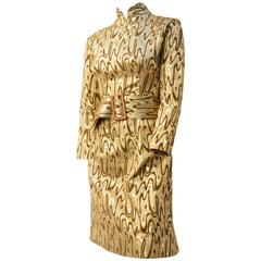 60s Psychedelic Melting Gold Evening Dress