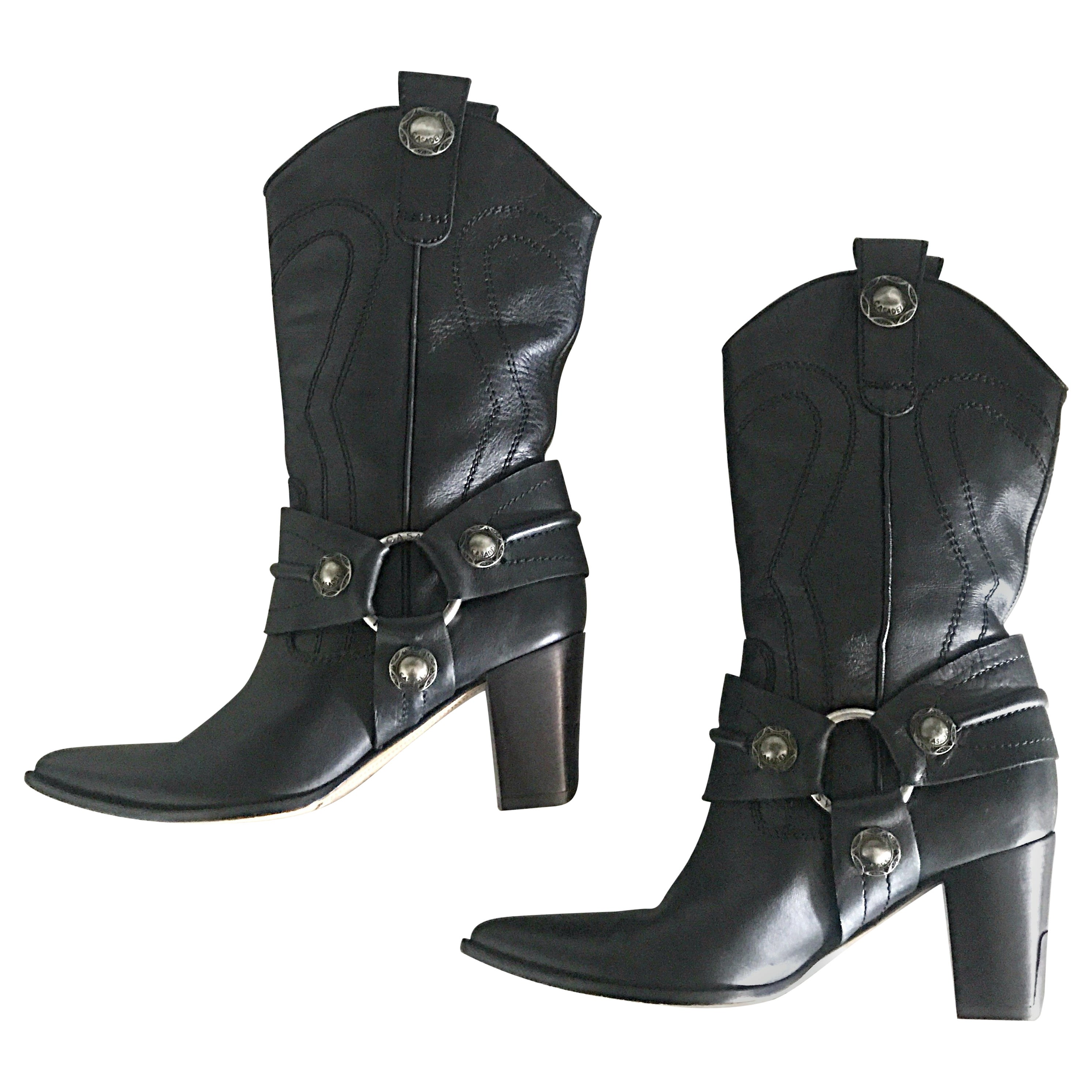 e35fa1d44a3 Casadei Black Leather Western High Heeled Pointed Toe Cowboy Boots For Sale  at 1stdibs