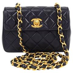 "Vintage Chanel 5"" Navy Quilted Leather Shoulder Mini Flap Bag"