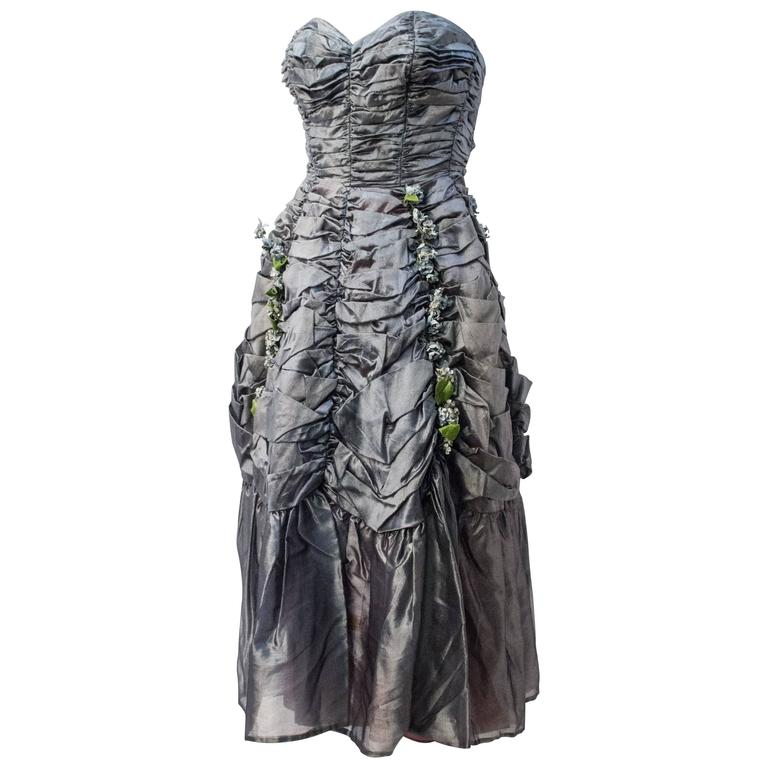 50s Strapless Ruched Silver Taffeta Party Dress