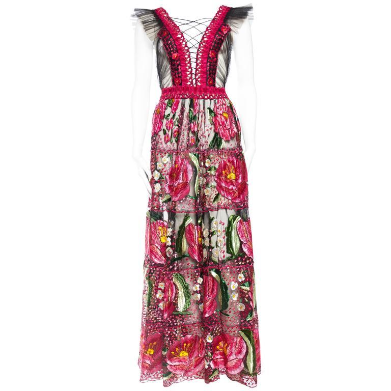Bohemian Inspired Fully Embroidered Sheer Net Dress