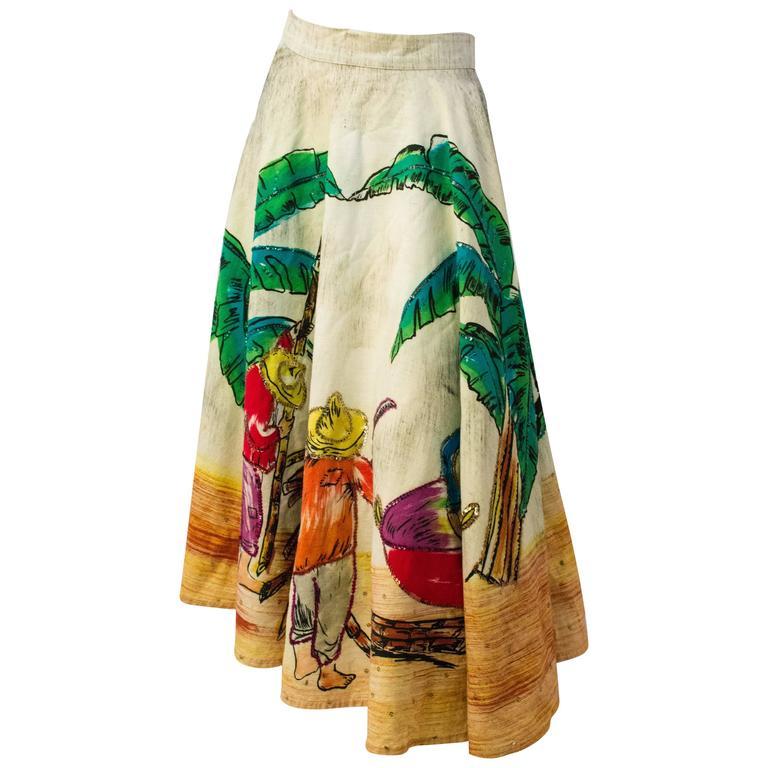 50s Mexican Cotton Souvenir Skirt