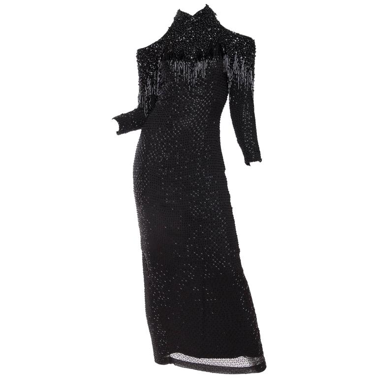 Fabulous Fully Beaded Gown with Fringe