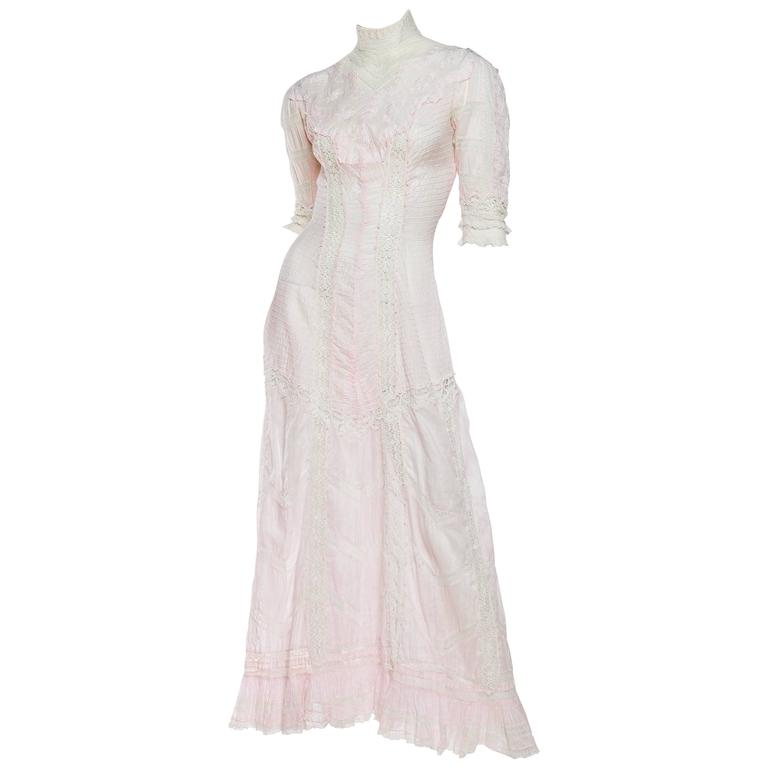 Beautiful and Very Rare Swan Neck Victorian Tea Dress