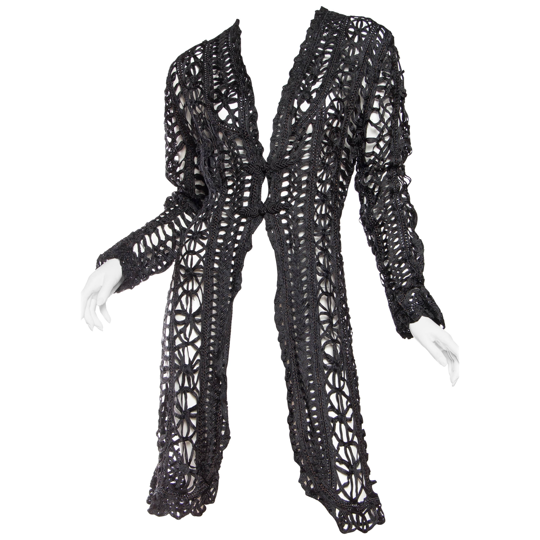 Victorian Black Silk Belle Epoch Ribbon Lace Duster Jacket