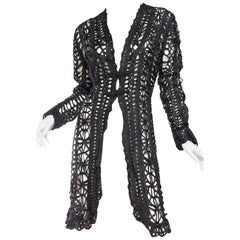Victorian Black Silk Belle Epoch Ribbon Lace Duster Jacket