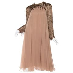 1970s Chiffon Dress with Sleeves Beaded with Fringe