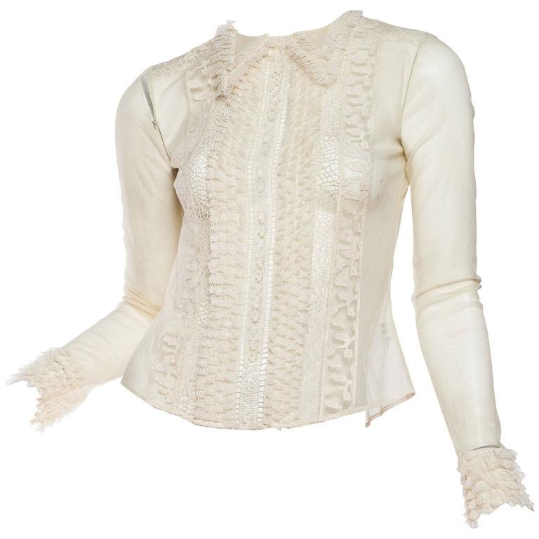 462948a0ea4d35 Victorian Style Lace and Net Blouse by Oscar De La Renta at 1stdibs