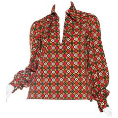 Iconic Documented Yves Saint Laurent Printed Blouse