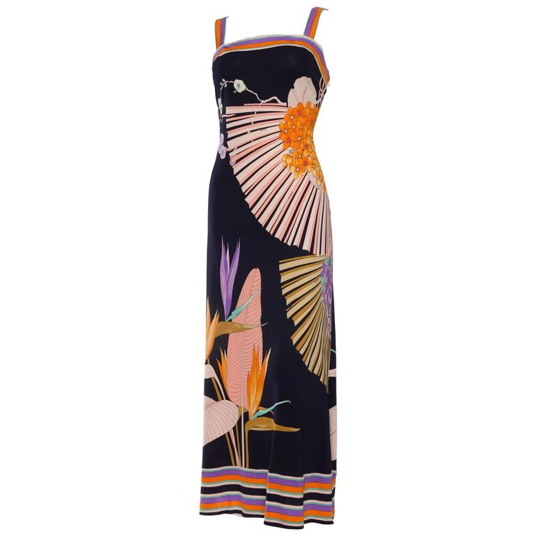 1970s Tropical Leonard Silk Jersey Dress For Martha Palm Beach