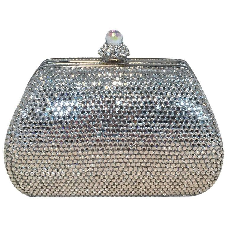 Judith Leiber Silver Swarovski Crystal Mini Purse Minaudiere Evening Bag