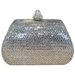 Judith Leiber Silver Swarovski Crystal Mini Purse Minaudiere Evening Bag