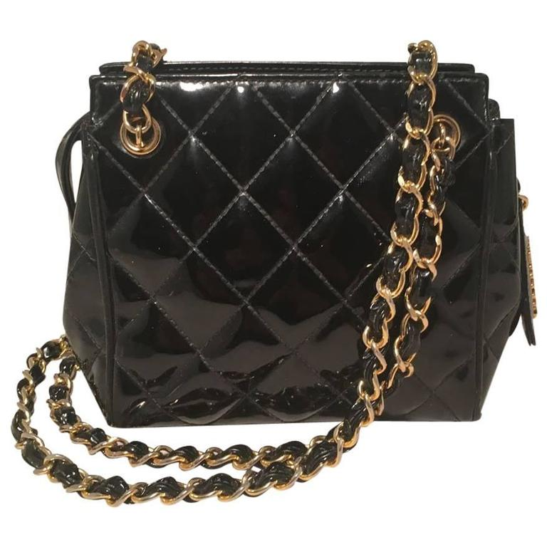 Chanel Vintage Black Quilted Black Patent Leather Mini Shoulder ...