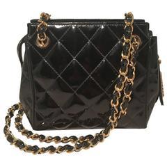 Chanel Vintage Black Quilted Black Patent Leather Mini Shoulder Bag
