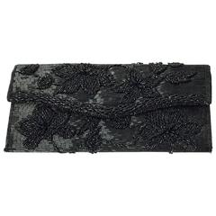 50s Black Hand Beaded Clutch