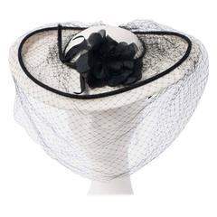 30s Black and White Straw Fashion Hat With Silk Rose and Velvet Trim