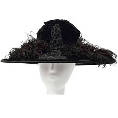 1900 Edwardian Black Velvet Hat with Marcasite Beading and Marabou Feathers