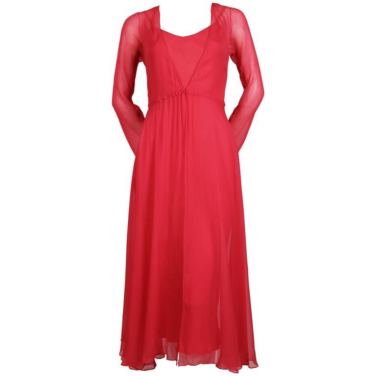 1970's HALSTON fuchsia silk mousseline bias cut dress with overlay
