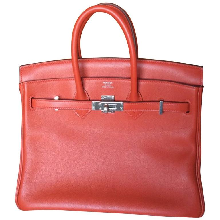 Hermes Birkin Bag 25 Cm Rouge Red Tomat Palladium Hardware For