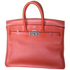 Hermes Birkin Bag 25 cm Rouge Red Tomat Palladium Hardware