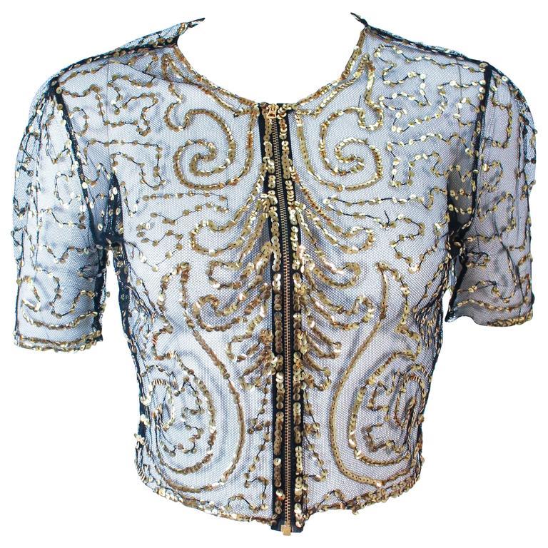 ANTIQUE 1930's Black & Gold Mesh Sequin Caplet Size 4 6