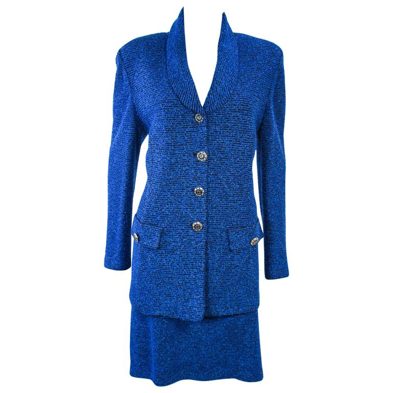542d85380fa ST. JOHN Vintage Royal Blue Stretch Wool Skirt Suit Size 14 For Sale