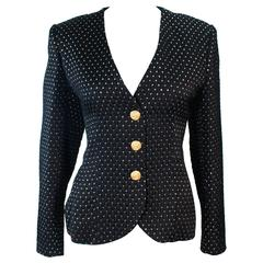 YVES SAINT LAURENT Vintage Black and Gold Metallic Jacket Size 42 10