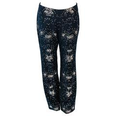 OZBEK Ultra Black Pants with Metal Sequin Applique Size 4 6