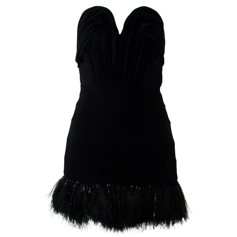 Pierre Balmain Strapless Feather Cocktail Dress