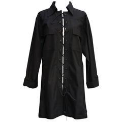 1993 Yves Saint Laurent Black Cotton Saharienne Dress