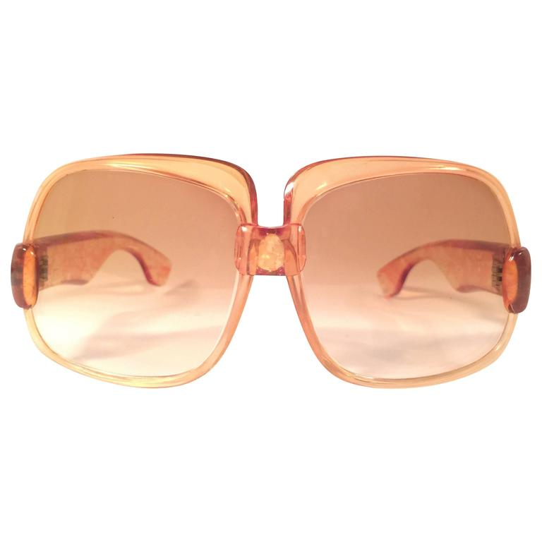 New Vintage Yves Saint Laurent YSL 545 Translucent Orange 1970 France Sunglasses