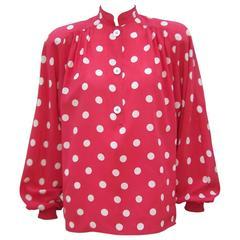 1980's Valentino Silk Red & White Polka Dot Blouse
